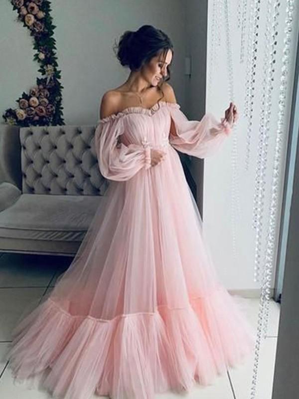 A-lijn/Prinses Tule Appliqué Schoudervrij Long Mouws Floor Length Dresses