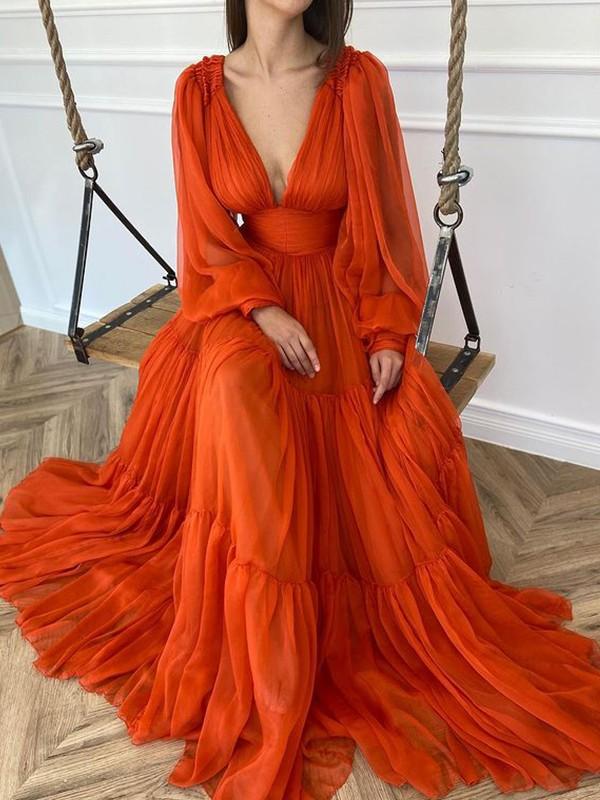 A-lijn/Prinses Strijksleep V-Hals Long Mouws Chiffon Ruches Dresses