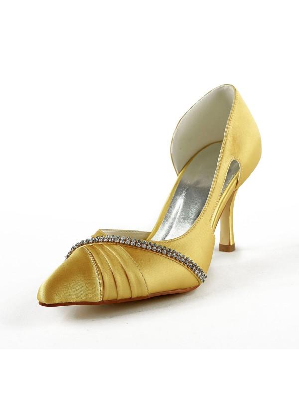 Women's Satijn Stiletto Heel Closed Toe Pumps Gold Wedding Shoes With Bergkristal
