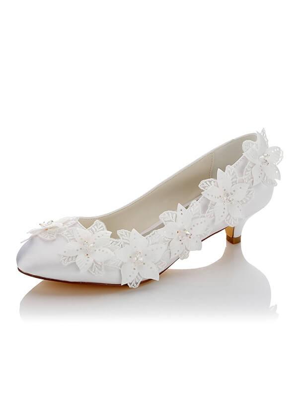 Women's Satijn PU Closed Toe Spool Heel Wedding Shoes