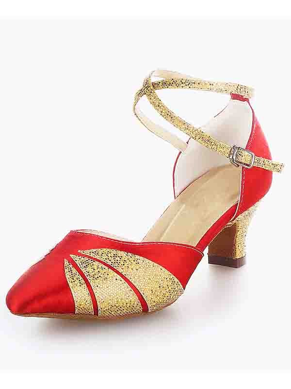 Women's Satijn Closed Toe Chunky Heel Buckle Sparkling Glitter Dance Shoes