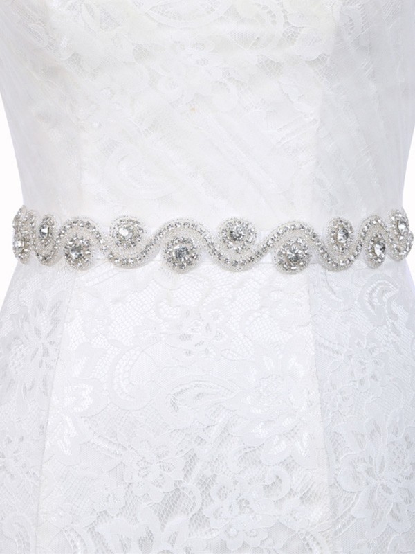 Graceful Polyester Fiber Sashes With Rhinestones