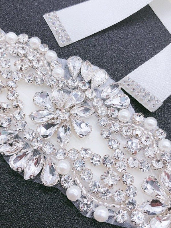 Fashion Satin Sashes With Rhinestones/Imitation Pearls