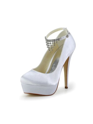 Women's Nice Satijn Stiletto Heel Closed Toe With Bergkristal White Wedding Shoes