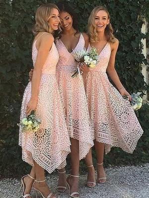 A-lijn/Prinses Mouwloos V-Hals Assymetrisch Kant Bruidsmeisjes Jurken