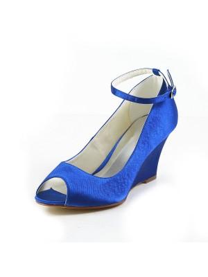 Women's Satijn Wedge Heel Wedges Peep Toe Wedges Shoes With Buckle