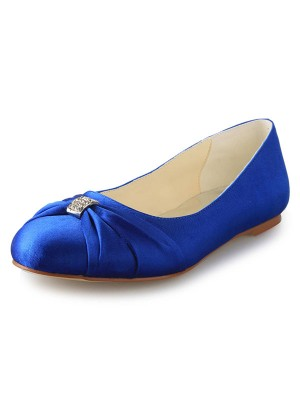 Women's Flat Heel Closed Toe Satijn With Bergkristal Flat Shoes