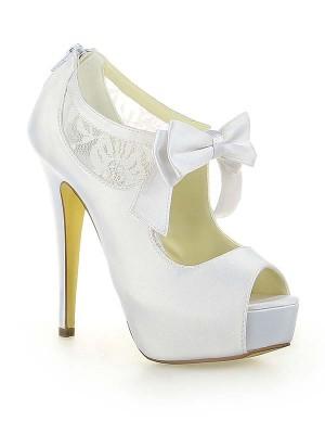 Women's Satijn Kant Platform Peep Toe With Strik Stiletto Heel White Wedding Shoes