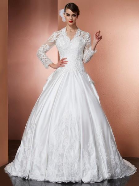 A-lijn/Prinses V-Hals Lange Mouwen Appliqué Lang Satijn Bruidsjurken