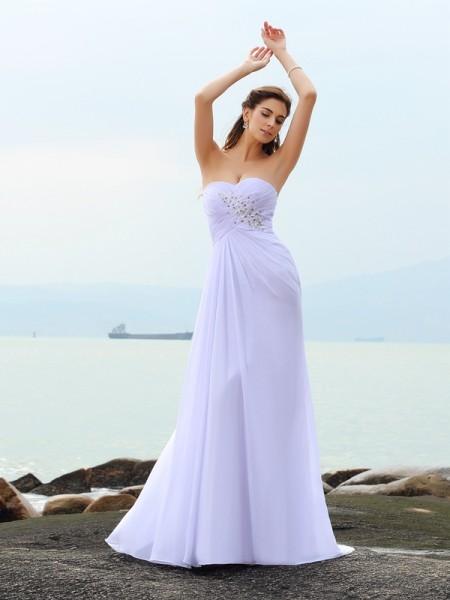 Strak Hartvormig Decolleté Kralenwerk Mouwloos Lang Chiffon Beach Bruidsjurken