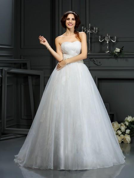 A-lijn/Prinses Hartvormig Decolleté Appliqué Mouwloos Lang Organza Bruidsjurken