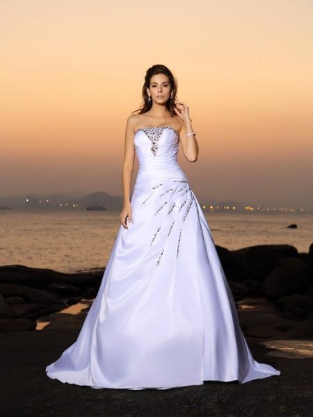 A-lijn/Prinses Strapless Kralenwerk Mouwloos Lang Satijn Beach Bruidsjurken