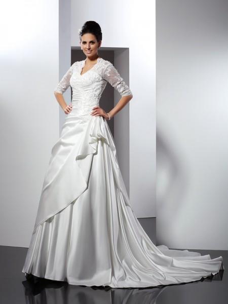 A-lijn/Prinses V-Hals Appliqué 1/2 Mouwen Lang Satijn Bruidsjurken