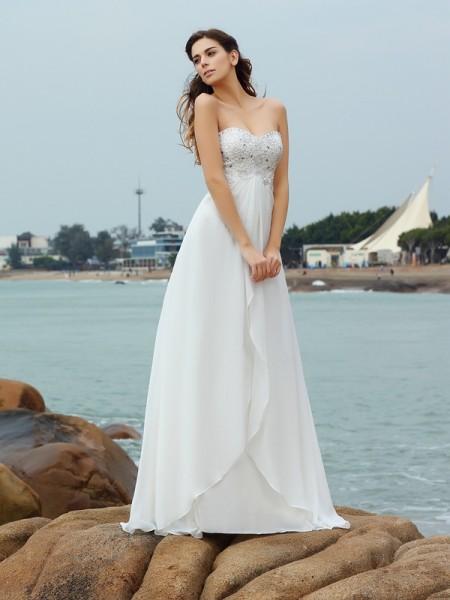 A-lijn/Prinses Hartvormig Decolleté Kralenwerk Mouwloos Lang Chiffon Beach Bruidsjurken