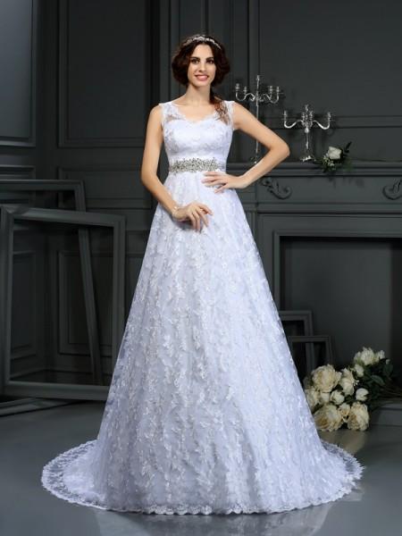 A-lijn/Prinses V-Hals Kant Mouwloos Lang Satijn Bruidsjurken