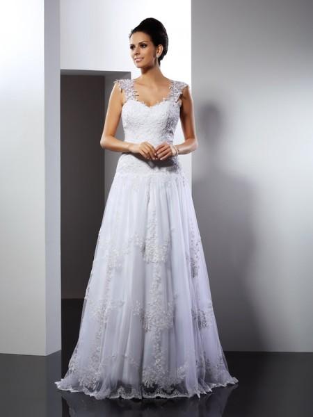 A-lijn/Prinses Bandjes Appliqué Mouwloos Lang Kant Bruidsjurken