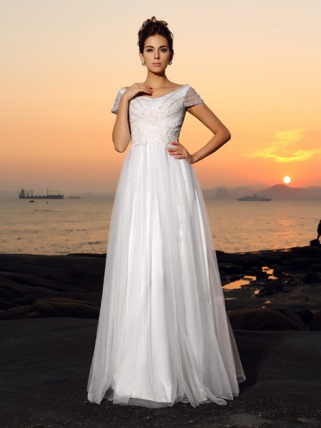 A-lijn/Prinses Schoudervrij Kralenwerk Korte Mouwen Lang Tule Beach Bruidsjurken
