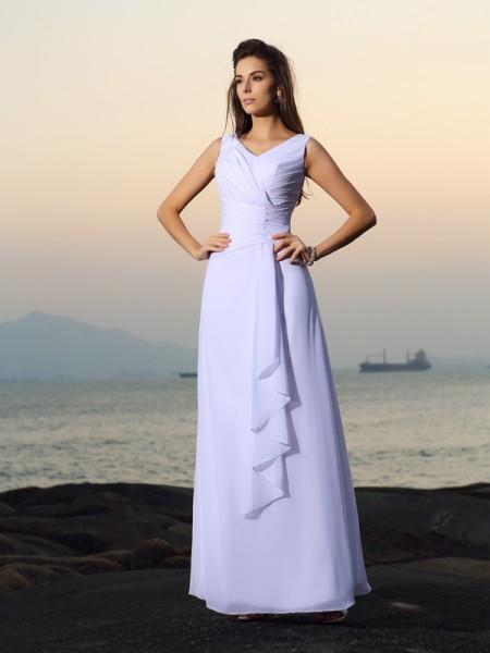 A-lijn/Prinses V-Hals Vouwen Mouwloos Lang Chiffon Beach Bruidsjurken