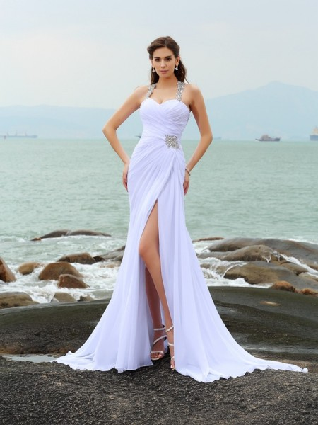 Strak Bandjes Kralenwerk Mouwloos Lang Chiffon Beach Bruidsjurken