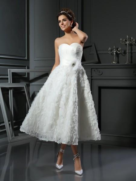 A-lijn/Prinses Hartvormig Decolleté Strik Mouwloos Kort Satijn Bruidsjurken