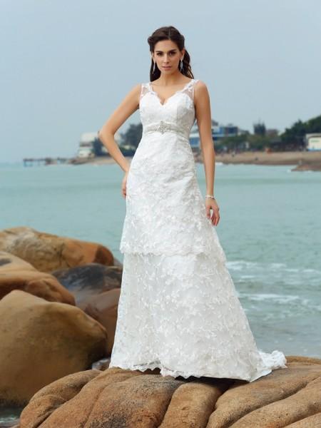 A-lijn/Prinses Bandjes Appliqué Mouwloos Lang Satijn Beach Bruidsjurken