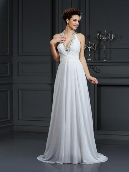 A-lijn/Prinses Halter Kralenwerk Mouwloos Lang Chiffon Bruidsjurken