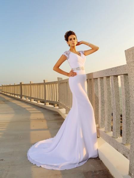 Strak V-Hals Kralenwerk Mouwloos Lang Chiffon Beach Bruidsjurken