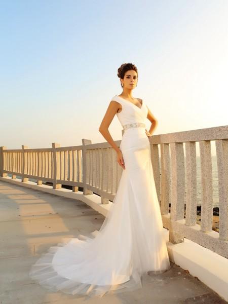 Strak V-Hals Vouwen Mouwloos Lang Netto Beach Bruidsjurken