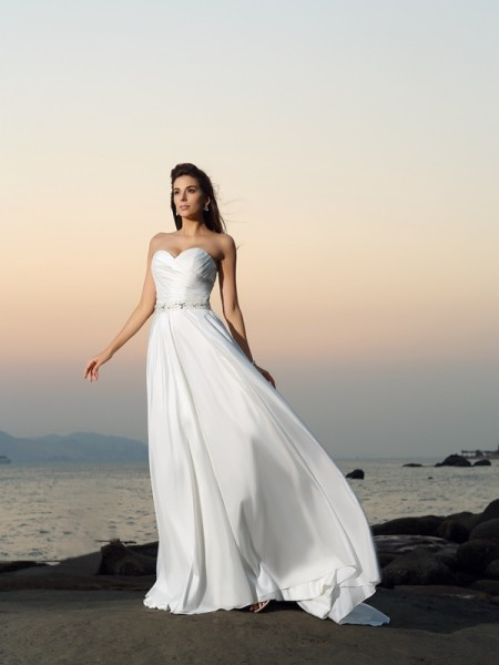 A-lijn/Prinses Hartvormig Decolleté Kralenwerk Mouwloos Lang Tafzijde Beach Bruidsjurken