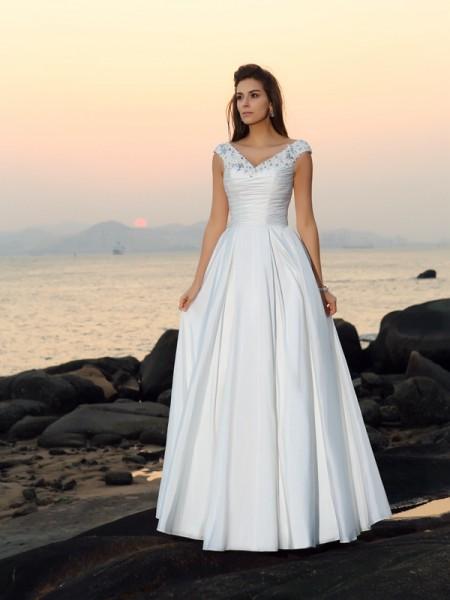 A-lijn/Prinses V-Hals Kralenwerk Mouwloos Lang Tafzijde Beach Bruidsjurken