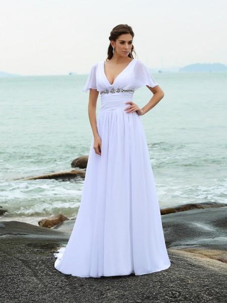 A-lijn/Prinses V-Hals Ruches Korte Mouwen Lang Chiffon Beach Bruidsjurken