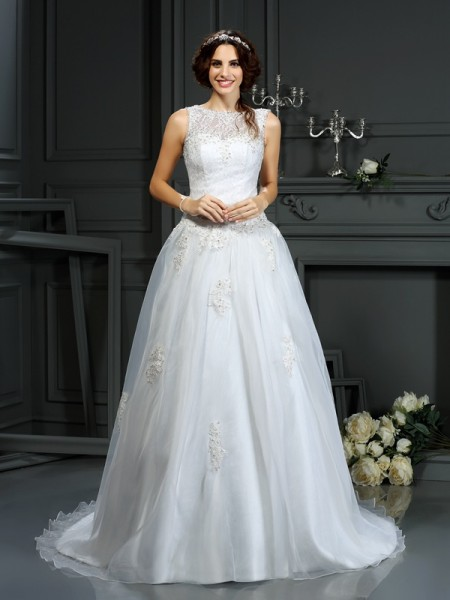 A-lijn/Prinses Decolleté Appliqué Mouwloos Lang Netto Bruidsjurken
