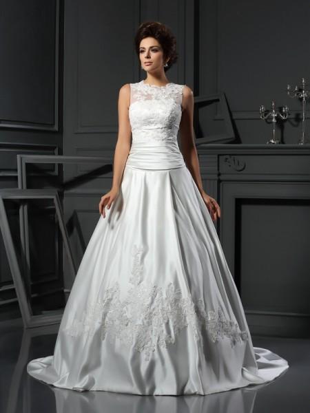 A-lijn/Prinses Col Appliqué Mouwloos Lang Satijn Bruidsjurken