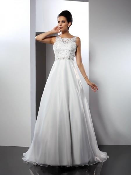 A-lijn/Prinses Decolleté Ruches Mouwloos Lang Satijn Bruidsjurken