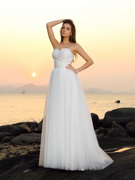 A-lijn/Prinses Hartvormig Decolleté Mouwloos Lang Netto Beach Bruidsjurken