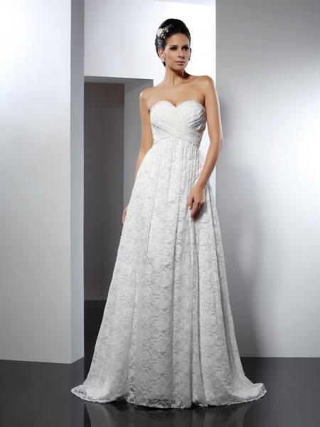 A-lijn/Prinses Hartvormig Decolleté Mouwloos Lang Satijn Bruidsjurken