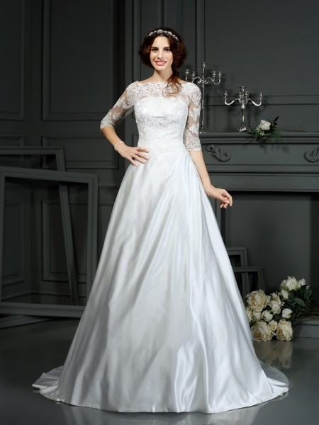 A-lijn/Prinses Boothals Kant 1/2 Mouwen Lang Satijn Bruidsjurken