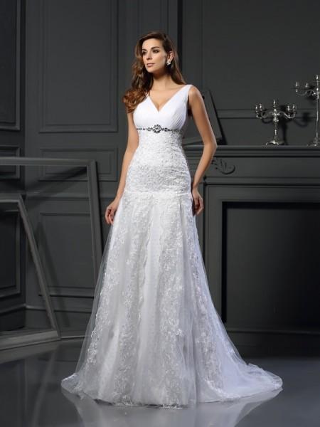 A-lijn/Prinses V-Hals Kralenwerk Mouwloos Lang Satijn Bruidsjurken