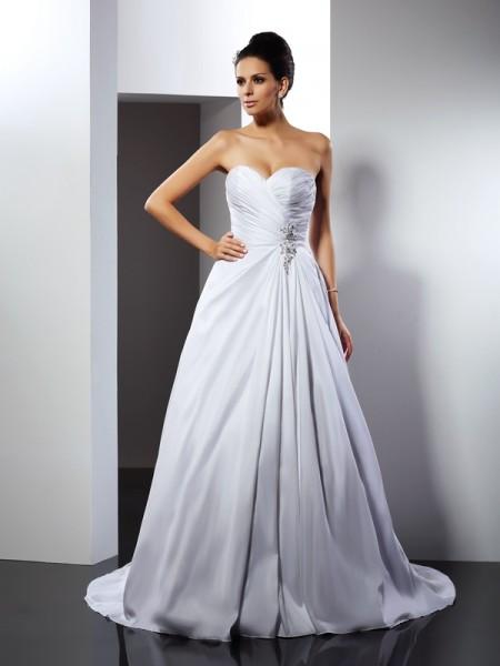 A-lijn/Prinses Hartvormig Decolleté Ruches Mouwloos Lang Satijn Bruidsjurken
