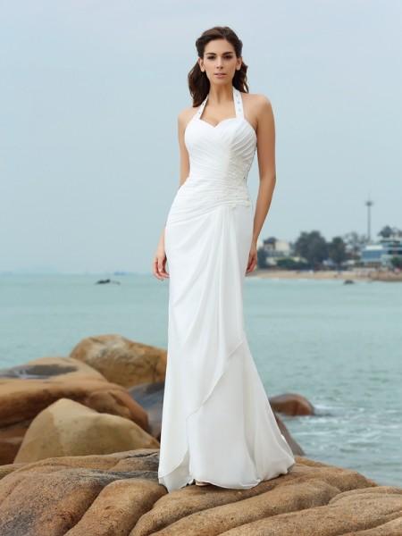 Strak Halter Vouwen Mouwloos Lang Chiffon Beach Bruidsjurken