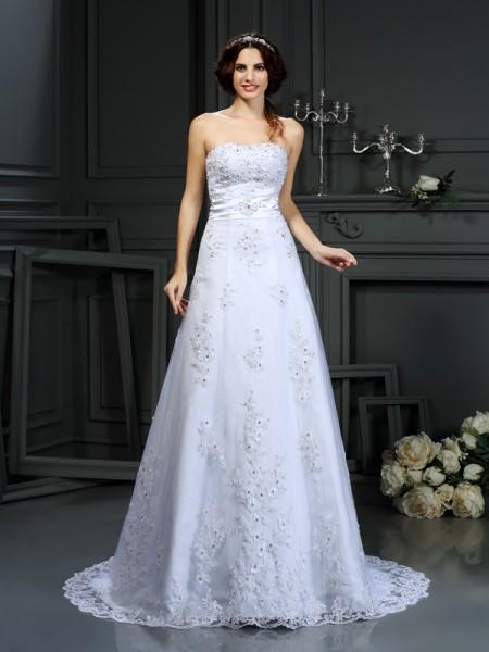 A-lijn/Prinses Strapless Appliqué Mouwloos Lang Satijn Bruidsjurken