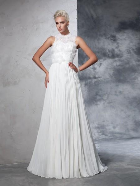 A-lijn/Prinses Col Vouwen Mouwloos Lang Chiffon Bruidsjurken
