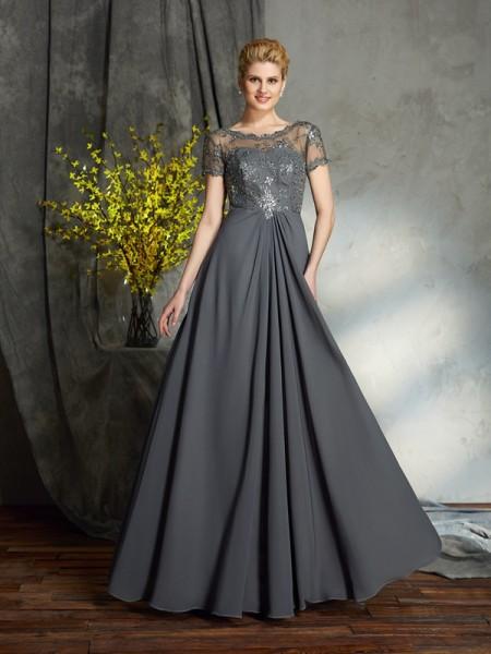 A-lijn/Prinses Decolleté Appliqué Korte Mouwen Lang Chiffon Moeder van de Bruid