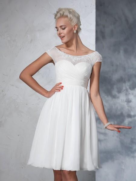 A-lijn/Prinses Sheer Neck Met Ruches Korte Mouwen Kort Chiffon Bruidsjurken