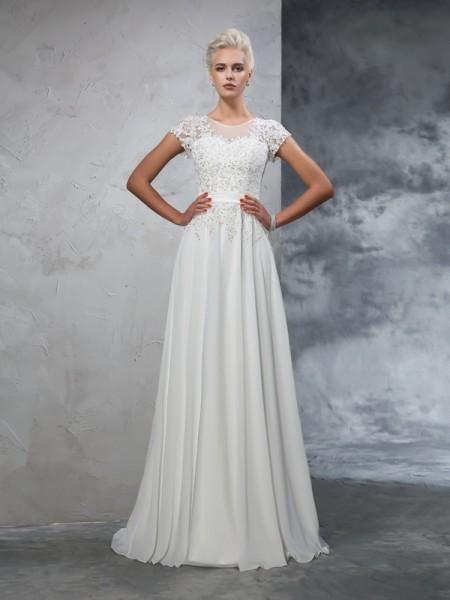 A-lijn/Prinses Sheer Neck Appliqué Korte Mouwen Lang Chiffon Bruidsjurken