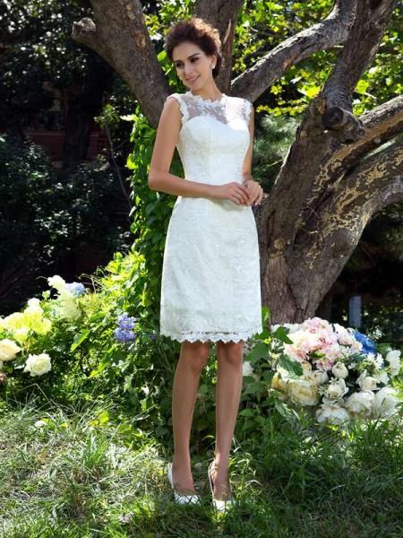 A-lijn/Prinses Sheer Neck Appliqué Mouwloos Kort Satijn Bruidsjurken