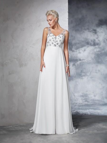 A-lijn/Prinses V-Hals Kralenwerk Mouwloos Lang Chiffon Bruidsjurken
