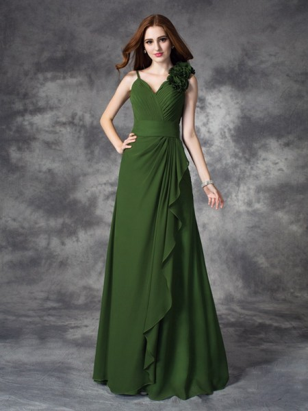 A-lijn/Prinses V-Hals Handgemaakte Bloem Mouwloos Lang Chiffon Bruidsmeisjes Jurken