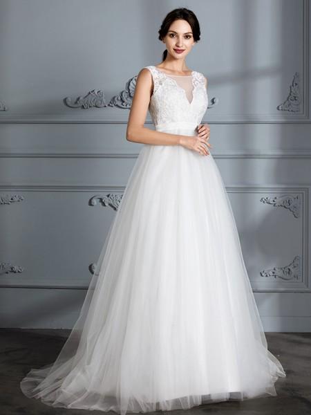 A-lijn/Prinses Mouwloos V-Hals Strijksleep Tule Bruidsjurken