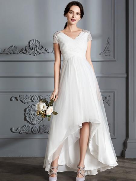 A-lijn/Prinses V-Hals Korte Mouwen Assymetrisch Tule Bruidsjurken